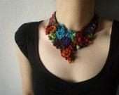 Callirhoe Triangulata ... Freeform Beaded Crochet Necklace - Flowers - Red Persimmon Burgundy Blue Green - Beadwork Statement Bib