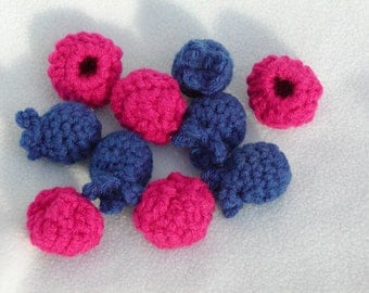 FREE PATTERN --  Crocheted Blueberries and Raspberries