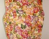 Adult Rib Bib/Clothing Protector. Make-up Bib, Long Length: Rose Floral Print - Ready to Ship