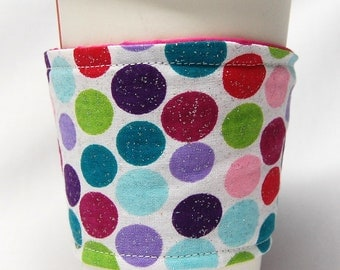 Coffee Cozy/Cup Sleeve Eco Friendly Slip-on, Teacher Appreciation, Co-Worker Gift, Bulk Discount: Multi-Colored Sparkling Polka Dots