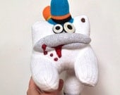 Daffy Dill-- A Sock Zombie with a Blue, Orange, and Yellow Toehawk
