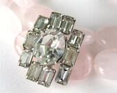 Rose Quartz Bracelet, Clear Vintage Rhinestone, Pink 2 Strand Gemstone Bracelet, Silver, Handmade, Jana
