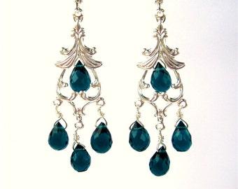 Teal Chandelier Earrings, Silver Dangle Earrings, Teal Quartz Teardrops, Faceted Blue Green Stones Fancy Lever Back Earrings, Handmade Delta