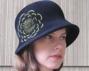 Black Felt Cloche Hat, Handmade Millinery, Green Flower, Vintage Style, Hand Embroidered, Womens Hat, Dahlia
