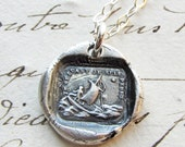 If I Lose You I am Lost - wax seal necklace - Sailboat Polar Star - antique French wax seal jewelry in fine silver French love motto
