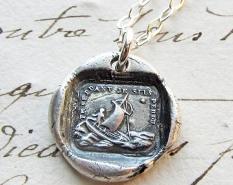 If I Lose You I am Lost - wax seal necklace - Sailboat Polar Star - antique French wax seal jewelry in fine silver French love motto - FS650