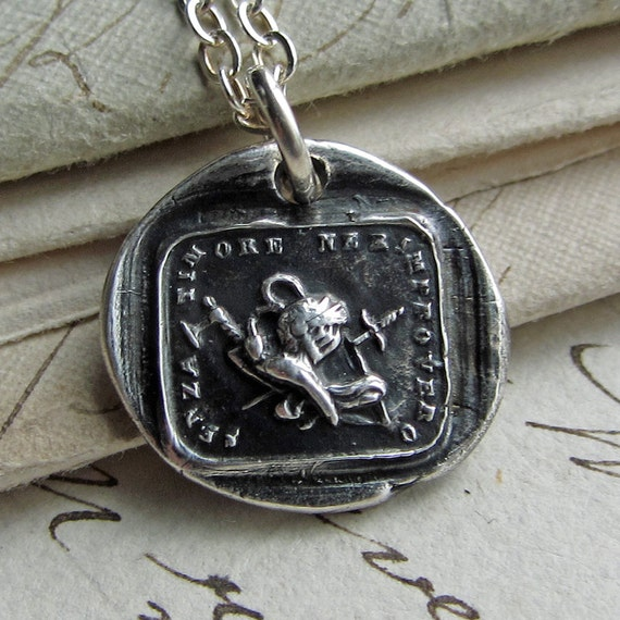 Courage Wax Seal Necklace - Italian motto wax seal jewelry in fine silver - Without fear, shield, sword & battleaxe - IS215