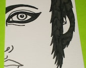 Original Drawing ACEO Black and White Face Design