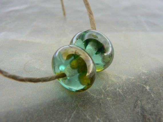 Shimmer Seafoam Green Earring Pair Handmade Lampwork Glass Beads