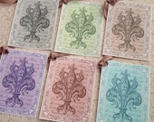French Tags -Fleur de Lis Color Collection Tags - Multicolored - Set of 6
