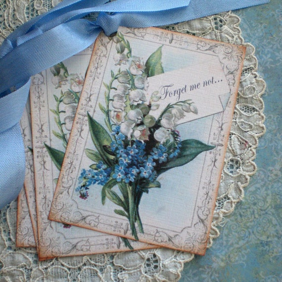 Floral Tags - Lily of the Valley Tags - Forget Me Not Tags - Blue - Set of 6