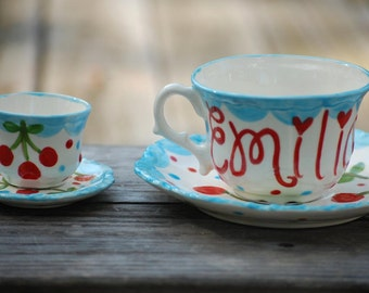 Aqua and Red Cherries -- Tea for two matching tea cup sets. . .  Mother's Day Gift, Grandparents Day