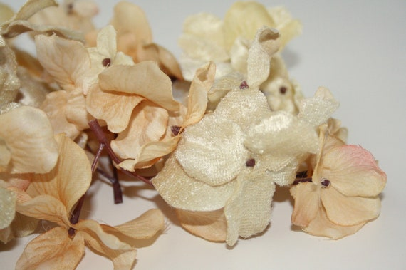 Silk Hydrangea - 45 Velvet Hydrangeas in Victorian Vintage Cream -  Artificial Flowers