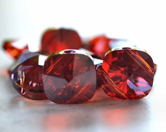 Red Magma Swarovski Elements 14mm Square Bead Double Hole : 2 pc