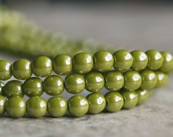 Avocado Green Luster Czech Glass 4mm Round Druk Bead - 50 pc