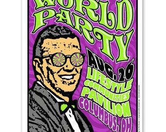 WORLD PARTY Karl Wallinger concert poster, silkscreen Columbus Ohio gigposter psychedelic screenprint.