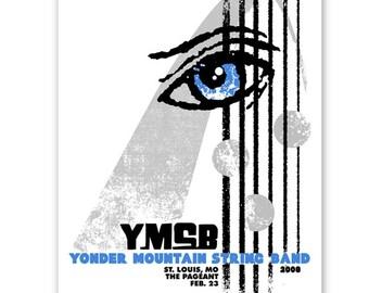 Yonder Mountain String Band eye arch concert poster, blue, grey, silkscreen St. Louis gigposter screenprint.