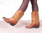 vintage crocodile leather western cowgirl cowboy boots unisex sz 9.5 (35)