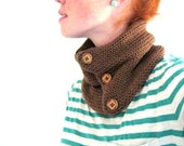 Knit Cowl Scarf - Brown with Wooden Buttons