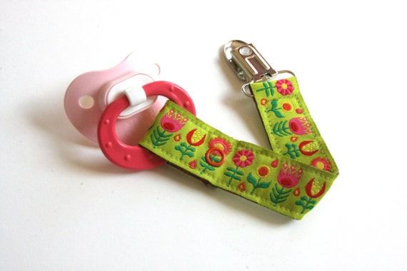 Pacifier Clip - Colorful Green and Pink Flower Trim - Snap Pacifier Clip