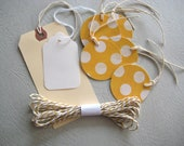 Gift  Wrap Set - Tag and Bakers Twine Lemon Yellow  Pretty Summer Spring Dots Parcels with love