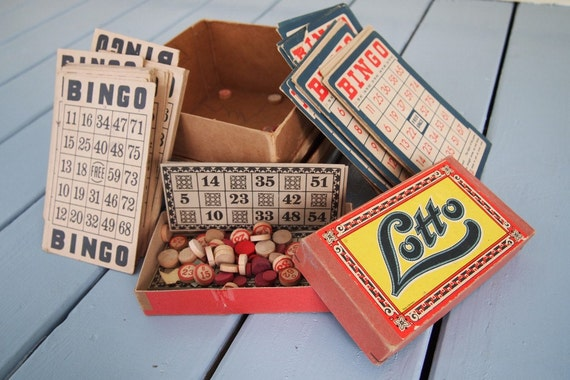 Lot of 3  Vintage bingo and lotto cards Red White Blue, Black Tan etc   convo for more.