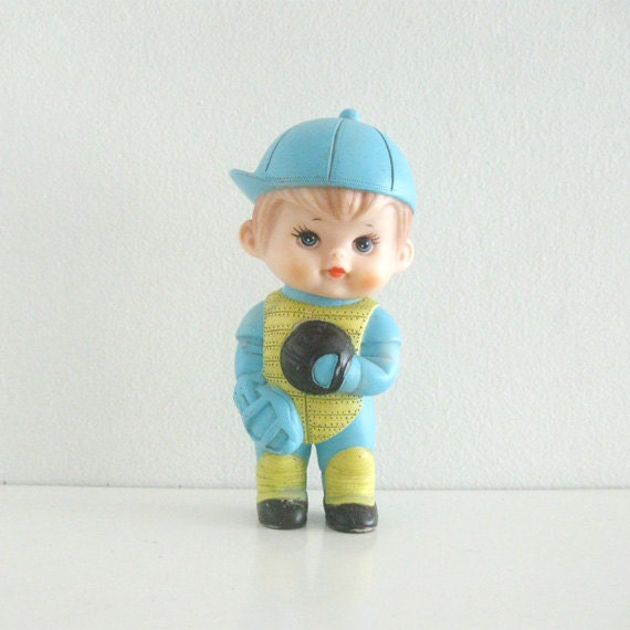 Vintage Squeaky Toy Rubber Baseball Sports Doll