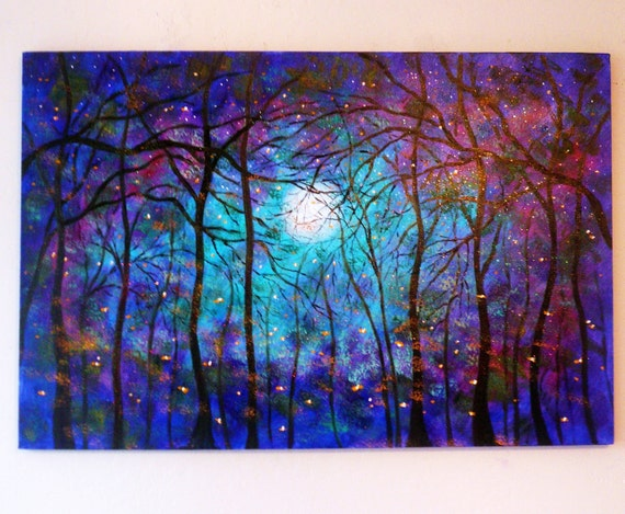 large-Commission-Large original oil painting  fireflies Blue Moon Summertime 36 x 24 by Vadal