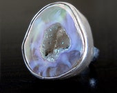 RESERVED Baby Geode Ring set in Sterling Silver