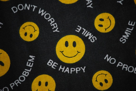 FABRIC 70s style Smiley Face Happy Have a Nice Day Yellow Black