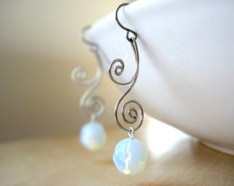Silver Spiral Earrings - opalite, synthetic moonstone, clear glass, October birthday, art nouveau - Swirl