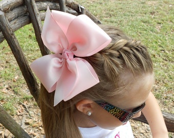 Pink Monogrammed Hair Bow, Big Initial Hair Bow for girls, Personalized 6 inch boutique hairbows