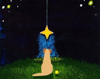 Yellow Lab Dog folk art PRINT of Todd Young painting Wishing Star