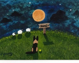 German Shepherd Dog Outsider Folk Art print of Todd Young Going Home
