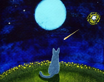 Russian Blue Cat Folk art print by Todd Young painting STARRY SKY