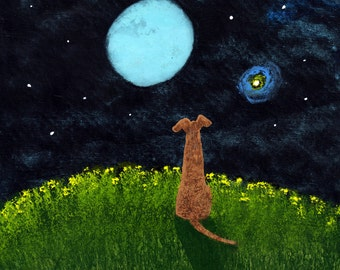Greyhound Dog Modern Folk Art PRINT of Todd Young painting NIGHT HILL
