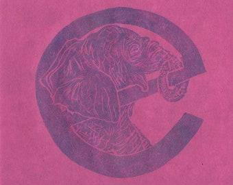 Elephant e Monogram Linocut - Alphabet Typographic Lino Block Print with Animal - E is for Elephant, Nursery Art, Kid's Illustration