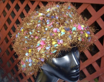 Reversible Shape Hat in Moss, Eyelash Brown and Flecks of Color   - Cloche or Brimmed