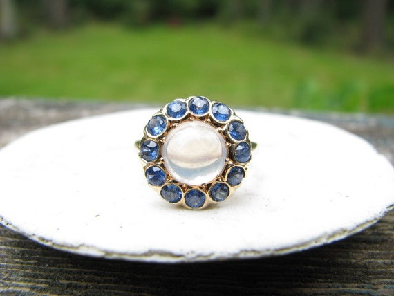RESERVED for Jamie - Stunning Old 14K Gold Moonstone and Blue Sapphire Ring - Halo Style - Beautiful Color