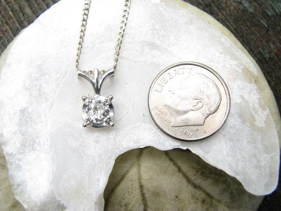 RESERVED for M - Beautiful and Elegant 1930s to 1940's 18K Diamond Pendant Necklace - Old European Cut Diamond - approx .50 carats - Jabel