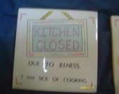 """set of 4 tile trivets: Kitchen closed,outgoing cook welcome, friends.4"""" x 4"""" cute sayings"""