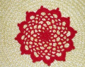 "New Handmade Crocheted ""83"" Coaster/Doily in Victory Red"