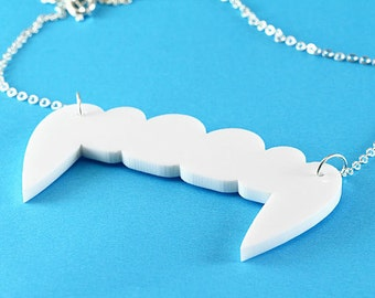 Large Vampire Fangs Necklace - Acrylic Pendant