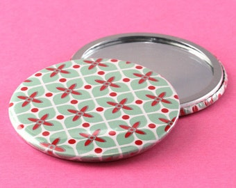 Pocket Mirror Retro Flowers - Mint & Red