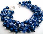 Royal Blue Pearl Beaded Bracelet, Bridesmaid Jewelry, Cluster Bracelet, Chunky Bracelet, Bridal Party, Designs by Kim Smith