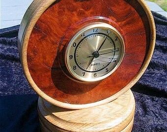 Turned wood clock, with stash compartment, Amboyna burl, The ONLY one....keeps ALIEN time....