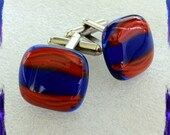 Retro Hand Crafted Fused Glass Cufflinks - Blue / Red - Silver Tone T-Bar