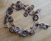 Wire Wrapped Bracelet Handcrafted Oxidized Copper Wire and a Tiny Moss Amethyst Dangle