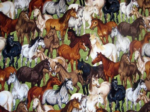 Gymkhana Horse Herd Cotton Quilting Fabric - Makower UK Fabrics - destash
