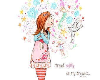 Children's Wall Art Print - Tread Softly - Kids Nursery Room Decor